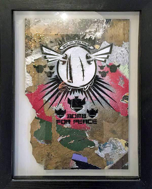 D*face - Bomb for Peace - 2000 - Spraypaint on Panel - 40 cm x 30 cm - 16 inch x 12 inch - Ministry of Walls Street Art Gallery - The Urban Art Broker - Shop
