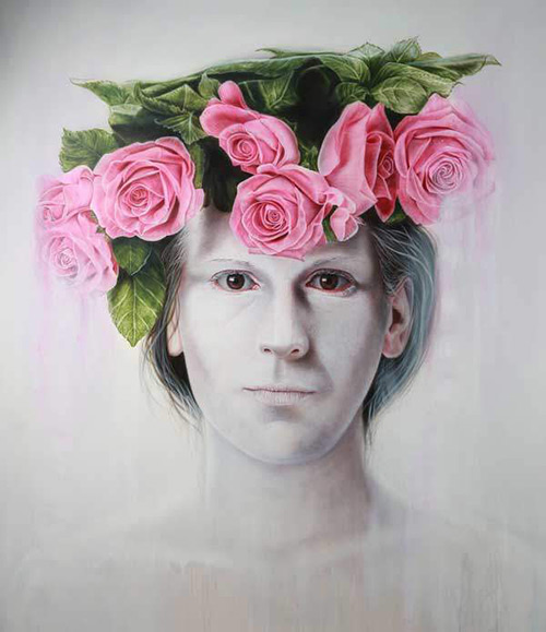 David Uessem - Flowered Snow - 2015 - Oil and Acrylics on Canvas - 160 cm x 150 cm - 63 inch x 59 inch - Ministry of Walls Street Art Gallery - The Urban Art Broker - Shop