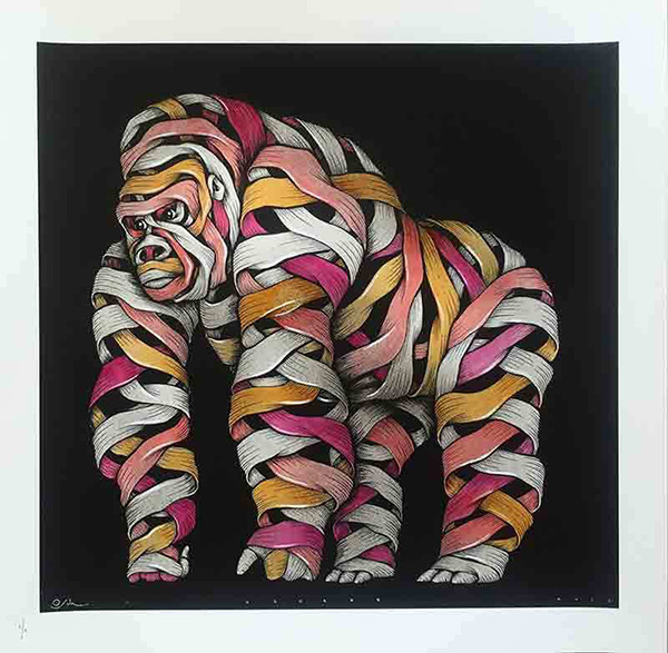 Otto Schade - Gorilla male grey spray yellow-red-pink - 2016 - new at Ministry of Walls