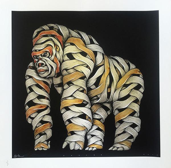 Otto Schade - Gorilla male grau spray gelb - 2016 - 54cm x 54cm - 1/1 Hand finished Siebdruck Somerset Papier 300 gramm - Ministry of Walls Street Art Gallerie Shop