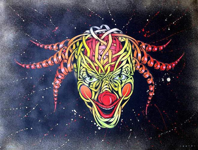 Otto-Schade - Clown - 2016_Stencil-spray-paint-mixed-technique-on-canvas_91cmx122cm_ministry-of-walls_streetart-gallery
