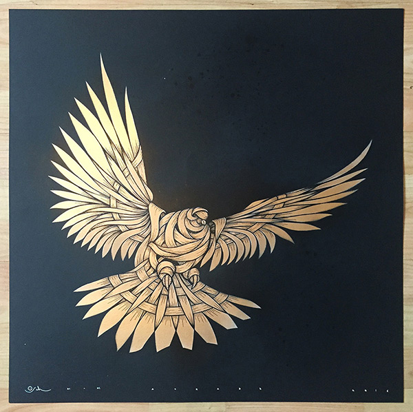 Otto Schade - DOVE Black Gold glittered - 2016 - 60cm x 60cm stencil-spray-handfinished 300g-card_ed1-1 Ministry of Walls Street Art Shop Galerie