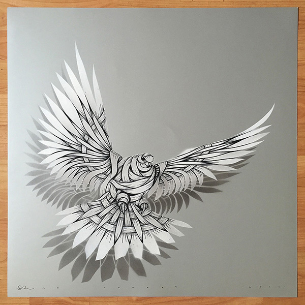 Otto Schade - DOVE Silver w- 2016 - 60cm x 60cm stencil-spray-handfinished 300g-card_ed1-1 Ministry of Walls Street Art Shop Gallerie