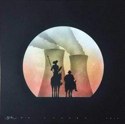 wtf Don Quichotte Black YOGW Glittered Otto Schade  - 2017 - 59,4x59,4cm - Spraypaint on canvas - Edition1 -Ministry of Walls Street art Gallery - The Urban art Broker - shop