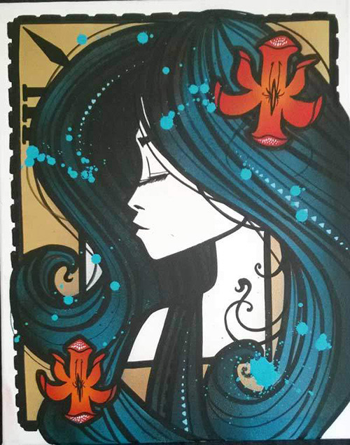 Inkie Ink Nouveau Aqua - profile in Aquas - 2016 - Spraypaint Acrylic and Liquid Leaf on Canvas - Size 20x16Inches - 51x41cm - Unique - Ministry of walls street art gallery - the urban art broker - shop