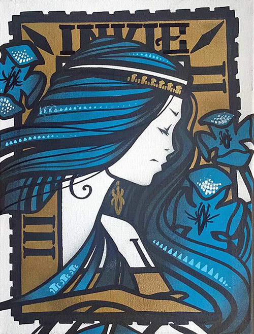 Inkie Hiawatha blue - 2016 - Unique - 16x12inch - 40x30cm - canvas hand painted with spraypaint acrylic and liquid leaf - signed on reverse - Ministry of Walls Street art gallery - the urban art broker - shop