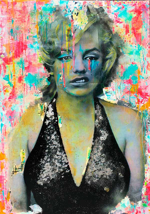 Pookky Marilyn - Talking to me - 2017 - collage silverleef spraypaint acrylics on canvas - 88,5cm x 130cm - 34x51 inch - Edition1 - Marilyn Monroe - Ministry of Walls - Streetart Gallery - The Urban Art Broker - Shop