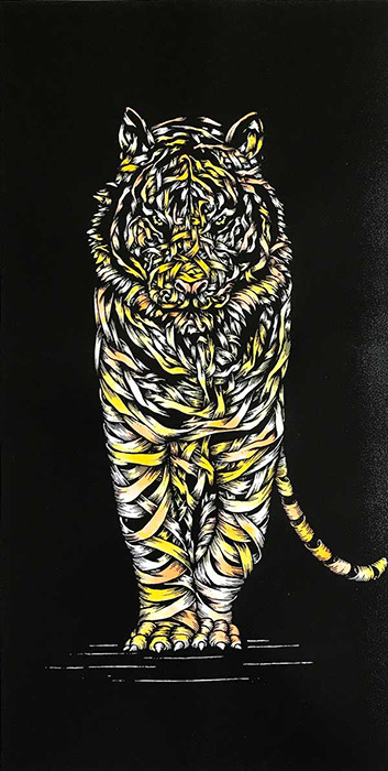 Otto Schade Tiger Threat Yellow 2017 Sprayed in Ink Paint by the Artist and Overprinted with Black UV Ink - 74.5 x 41cm (30 x 16.4 inches) Bottom Deckle Edge - 2 Colour Screen Print on 300 gsm Somerset Paper - Ministry of Walls Streitart Gallery - The Urban Art Broker Shop