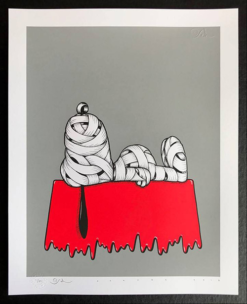 Otto Schade - Snoopy (Grey) - 2018 - 3-layers Screen Print - 42 cm x 51 cm - 17 inch x 20 inch - Ministry of Walls Street Art Gallery - The Urban Art Broker - Shop