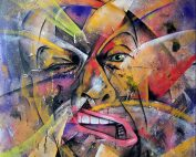 Otto Schade - Selfportrait - 2012 - Free Hand Spray paint on Canvas - 144 cm x 111 cm - 57 inch x 44 inch - Ministry of Walls Street Art Gallery - The Urban Art Broker - Shop
